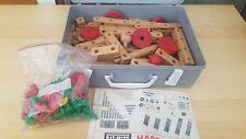Vintage 1960's FIT-BITS /Bilofix Engineering Construction Wooden Toy Bundle case