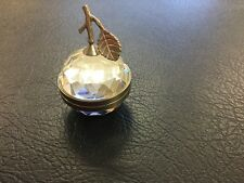 Vintage Swarovski Crystal Apple Paperweight Picture Holder Hinged Retired Mirror