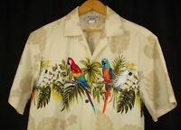 Pacific Legends Mens Hawaii Aloha Shirt Parrot Palm L Made In USA
