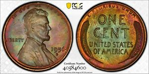 1956-D U.S 1 CENT LINCOLN WHEAT PENNY PCGS MS 65 BN HIGH GRADE BOLD TONED UNC BU