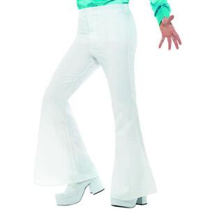 Mens 70s Bell Bottom White Flared Trousers