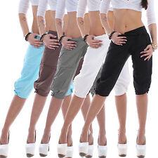 Damen Capri Leinenhose Leinen Hose 3/4 Capri Shorts Pump Chino Sommer Stoff B33