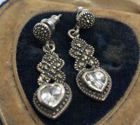 Vintage Sterling Silver Earrings 925 Cz Marcasite Dangle Heart