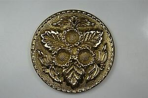 Beautiful Arts & Crafts brass ormolu roundel mount mirror furniture emblem SMB4