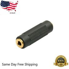 3.5mm Stereo Audio Gold Plated Female to Female Jack Coupler Adapter Black