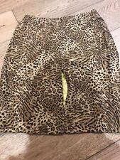 Gianni Versace Silk Skirt Leopard Animal Print Size 8 Zip Pencil Knee Genuine