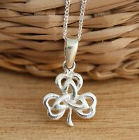 Solid 925 Sterling Silver Irish Shamrock Trinity Knot 3-Leaf Clover Celtic Charm
