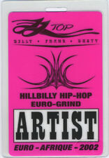 Zz Top 2002 Euro-Afrique Tour Laminated Backstage Pass