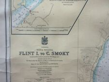 Old 1945 Nautical Chart Map Flint Island to Cape Smokey Cape Breton Island
