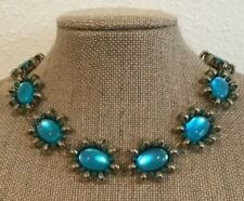 Coldwater Creek Chunky Gold Tone Blue Glass Cabochon Green Bead Necklace 16 1/2""