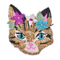 Cat Sequined Embroidered Sew On Patches for clothes DIY Coat Sweater Applique FT
