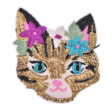 Cat Sequined Embroidered Sew On Patches for clothes DIY Coat Sweater Applique S6