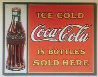 Coca Cola Coke Tin Metal Sign Sold Here Bottles Advertising Vtg Soda Pop NEW USA