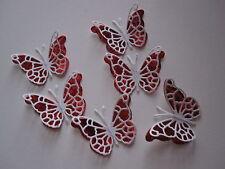 12 mini papillon Toppers ailes blanches sur rouge holographique Carte