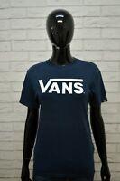 Maglia Blu Donna VANS Taglia S Camicia Manica Corta Shirt Women Jersey Frau Polo