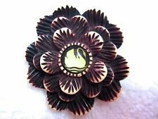 Deco Crafts Bakelite-Look Resin Mint Hotcakes Swan Flower Pin Handcrafted Carved