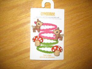 NWT Gymboree Woodland Friends Pink Green Deer Mushroom Snap Clips Barrettes