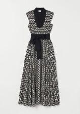 Mantsho For H&m Hm Patterned Linen Blend Dress Black/cream Pattern Size UK 4 BN