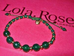 LOLA ROSE **SLOANE SQUARE** GREEN AGATE GEMSTONE TUMBLE ADJUSTABLE BRACELET  QVC
