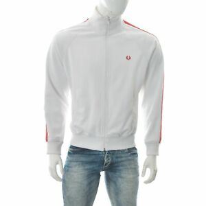 Fred Perry Men's Sportswear Jacket Full Zip Rib Edge Turtle Neck Size M White