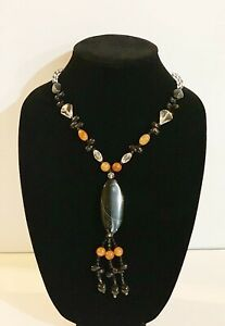 """Black Agate 28"""" chain Long Sweater Necklace in Oval Shape Pendant"""