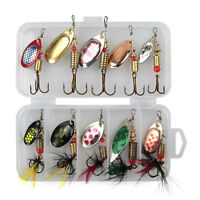 10 PCS Size 2 in pocket Spinners lure box Ideal Perch Salmon Pike trout Fishing