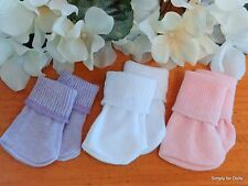 """Set 3 Lilac White Peachy Pink DOLL ANKLE SOCKS fits 15"""" & 18"""" AMERICAN GIRL DOLL"""