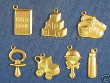 70pc Raw Brass New Baby Toddler Infant Lot Charms 4670