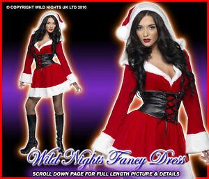 CHRISTMAS FANCY DRESS # SEXY HOODED SANTA MED 12-14