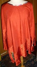 """Red NOTHING MATCHES TUNIC 3X? 60"""" Bust, Slanted Hemline, Patches, Bell Sleeves"""