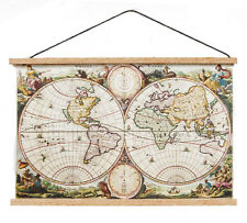 Ancient Map Banner, Dolls House Miniatures, Wall Decor, Study, World Map Mini