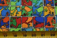 By 1/2 Yd,Colorful Frogs on Blue Green Red & Orange Cotton Quilt Fabric N4648