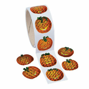 1 roll ~ Prism Pumpkin Stickers 100 count ~ Halloween party favors Treats