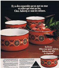 PUBLICITE ADVERTISING 104 1976 AUBECQ des casseroles qu'on met au mur