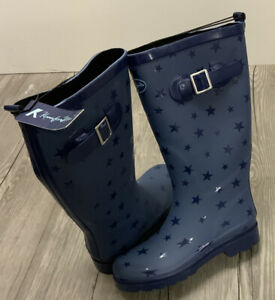 K KomforMe Damen Gummistiefel Gr 40 Stiefel  Regenstiefel Blau Sterne (012-