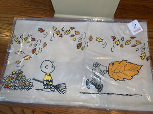 NWT Pottery Barn PEANUTS FALL LEAVES ~ Embroidered LUMBAR PILLOW Cvr ~ HALLOWEEN