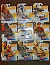 SET OF 9 STAR WARS HOT WHEELS CHARACTER CARS. FROM HAN SOLO MOVIE..FREE SHIPPING