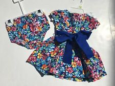 NWT Ralph Lauren Baby Girl Blue Floral 2-PC Polo Pony Panty Party Dress 3 Mos