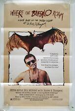 Vintage 1980 WHERE THE BUFFALO ROAM One Sheet Poster MURRAY HUNTER S THOMPSON