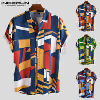 INCERUN Men's Hawaii Beach Floral Printed Short Sleeve Hippy Blouse T-shirt Tops