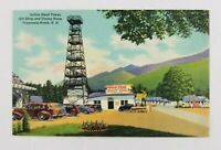 Postcard Linen Old Cars Indian Head Tower Franconia Notch New Hampshire
