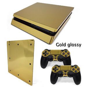 For PS4 Slim Console & 2 Controllers Gold Glossy Decal Vinyl Art Skin Wrap