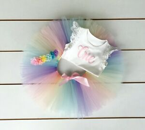 3 Piece Pastel Rainbow First Birthday Outfit - Cake Smash Outfit - Baby Girl
