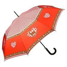 Regenschirm Damen Bayern rot kariert Sonne Geschenk Tracht Hirsch und Herz 5819A