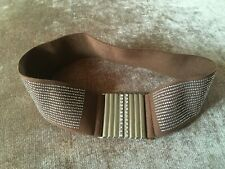 Ladies belt, elasticated with metal front fastening with diamante. Size small