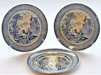 Antique Arcadian Chariots Blue and White Plate Set of 3 (19cm diameter)  c.1900