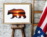 Lake Sunset • Bear Silhouette • Lodge Decor •Camp Wall Print • Campfire Woods