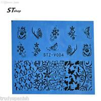 Nail Art Water Transfers Stickers Decals Black Flowers Butterflies Butterfly V04