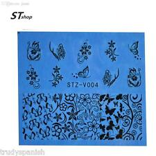 Nail Art Water Transfers Stickers Decals Black Flowers Butterflies Gel Polish 04