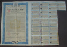 Kingdom of Romania Monopolies Insitute 100 $ Bond to Bearer 1929 unc. coupons